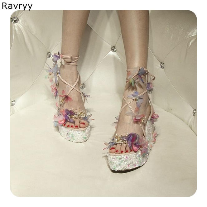 Summer chic bling bling colorful butterfly crystal decor wedges candy color sandals peep toe platform heels female high heels chic candy color felt beret for women