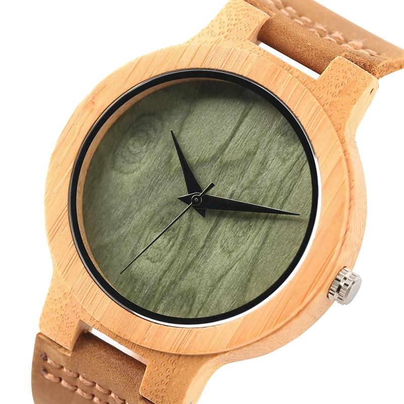 Fashion Wood Kellad Quartz meestele Naistele Ehtne Nahk Watchband - Meeste käekellad - Foto 3