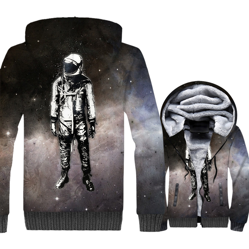 Spaceman Jacket Space trip 3D Print Hoodie Men Explore the Universe Sweatshirt 2018 New Design Winter Thick Fleece Zipper Coat