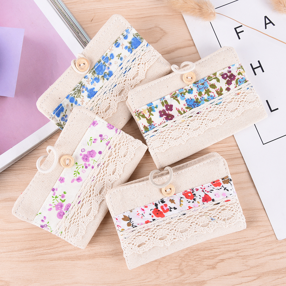 1PCS Canvas Flowers Hollow id card holder visa business card holder female credit card wallet women passport cover 24 card slots exquisite faux pearl embellished multi layered alloy sweater chain necklace for women