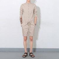 Fashion Men's Long Sleeve Jumpsuit Casual Single Breasted Shirt Hip Hop Short Pants Overalls Drastring waist Rompers Khaki