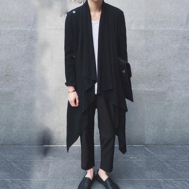 2017 primavera outono novos homens homens casaco manto casaco trench vintage assimetria cardigan blusão casaco punk rock palco trajes