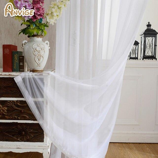 ANVIGE Solido Moderno Bianco Filato Finestra Tenda Tende di Tulle Per La Cucina/Soggiorno Trattamenti di Finestra Tenda Voile 1 Pannello
