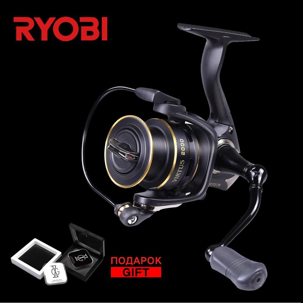 RYOBI Virtus 1000 2000 3000 4000 5000 6000 100% Original Wheel Ultralight Aluminum Spool 7.5KG Saltwater Fishing Spinning Reel 100% abu garcia 6 1 ball bearings pro max spinning 500 1000 2000 3000 4000 series fishing reel machined aluminum spool