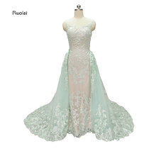 2017 New Removable Train Sky Blue Tulle Lace Applique Ball Gown Sleeves Formal Evening Dresses For Wedding Party Custom Made