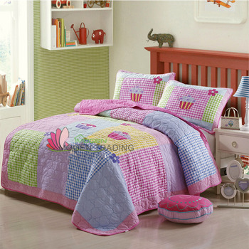 CHAUSUB Girls Bedspreads Quilt Set 2PC Applique Quilts Cotton Bed Cover Ice Cream Design Patchwork Kids Coverlet Twin Blanket