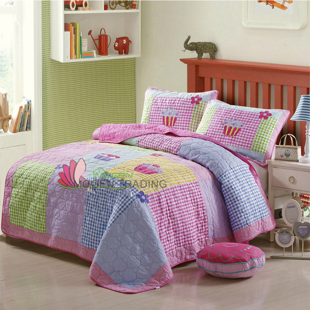CHAUSUB New Patchwork Quilt Set 2PC Applique Quilts Washed Cotton Bed Cover  Ice Cream Design Girls