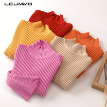 LCJMMO 2-6Y 2018 New Autumn Baby Girls Sweaters Flare Sleeve Soft Turtleneck Pullover Kids Sweaters Casual Children Clothing