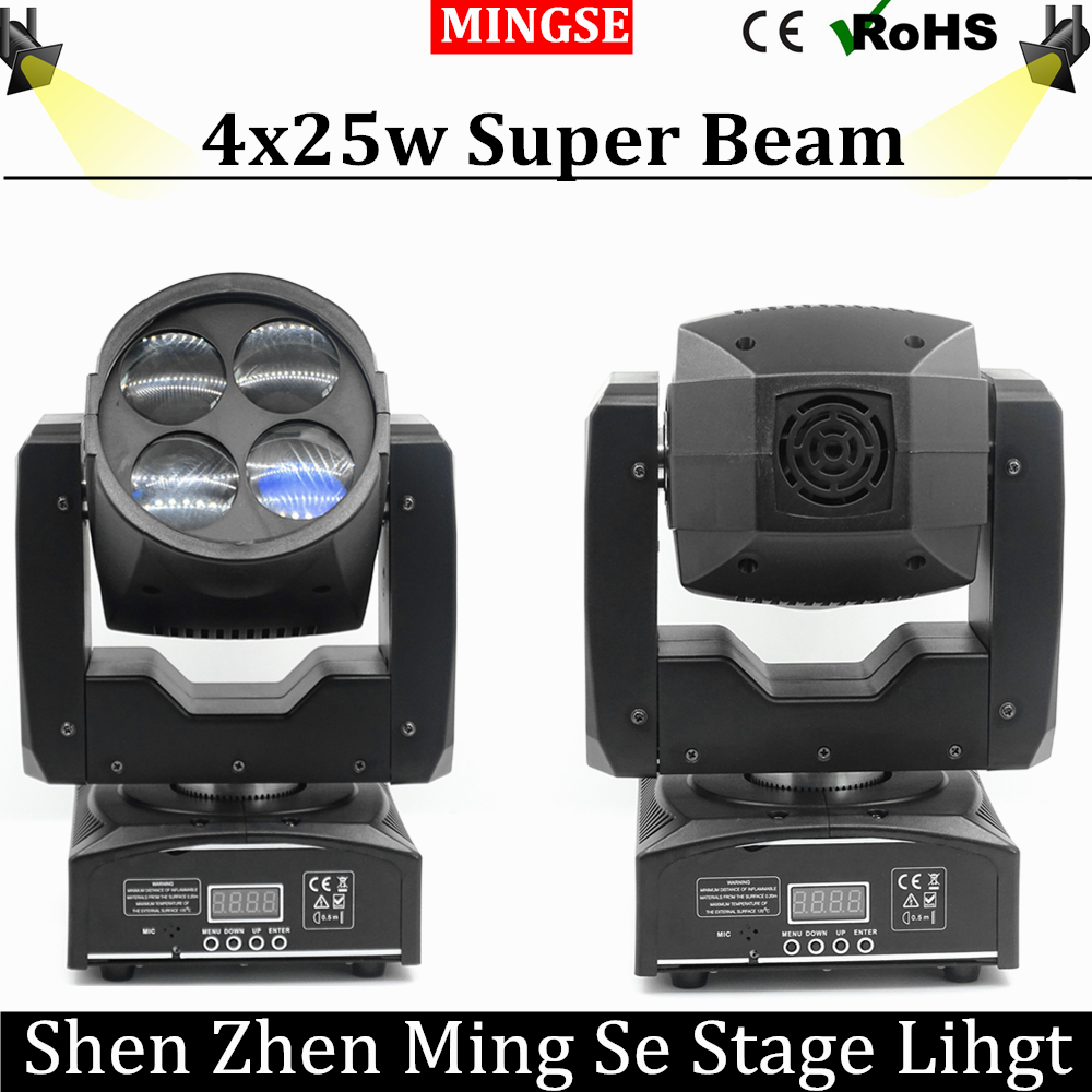 Super Beam 4x25w Moving Head Light Led Mini Stage Disco Dj Dmx Lamp lumiere Gobo Strobe Laser Show Christmas Party Licht niugul mini 10w rgbw 4in1 led moving head dmx512 light led beam spot lighting show disco dj laser light christmas party lights