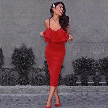 Adyce Для женщин Bodycon Лето бинты платье 2018 красный ремень спагетти Vestidos без бретелек оборками Midi знаменитости Вечеринка платье