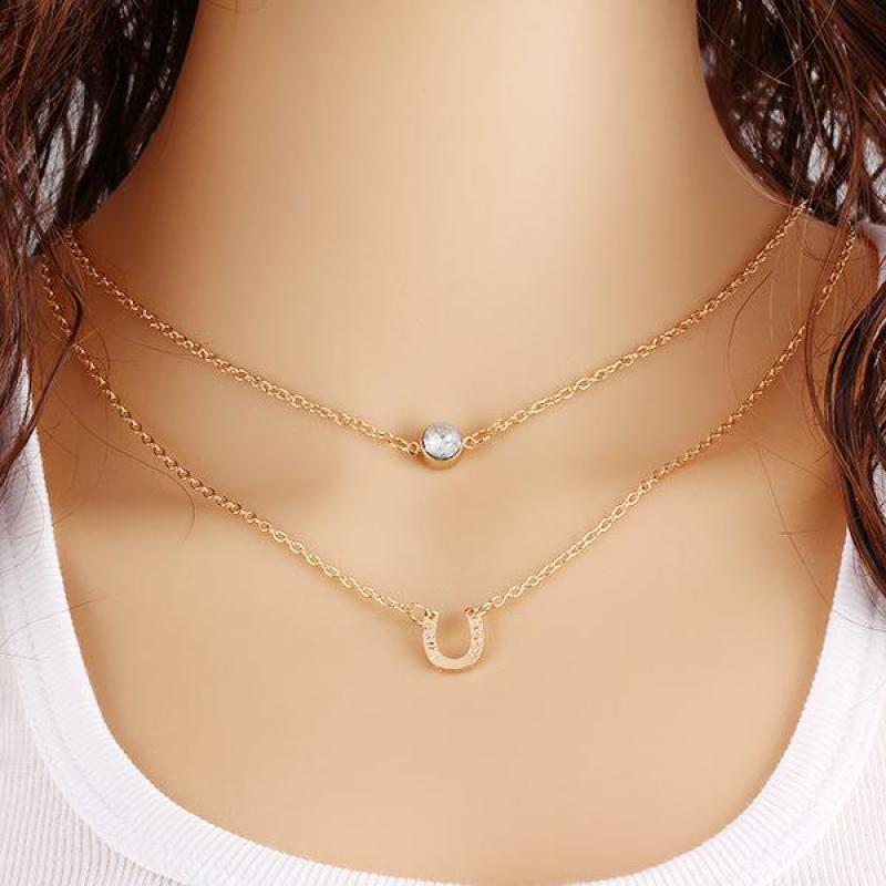 Popular Femme 2016 Multi Layer Necklace Gold Chain Collier Jewelry  HB51