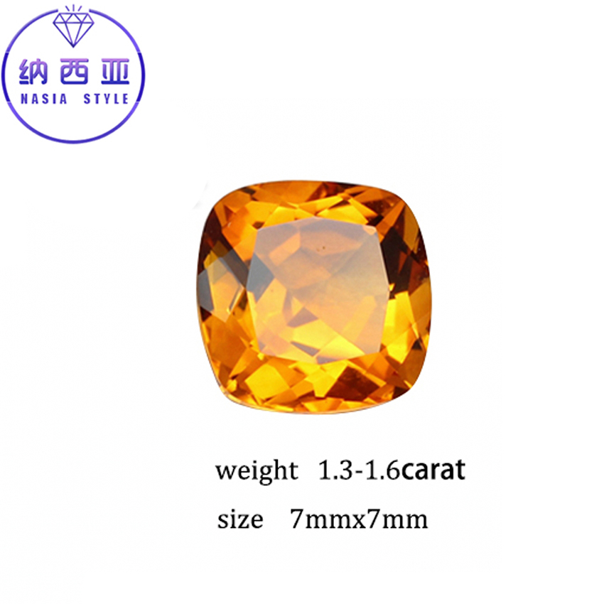 1.3-1.6 ct Carat 7mm Natural Yellow Citrine Crystal Section Brazil Square Beads Loose st ...