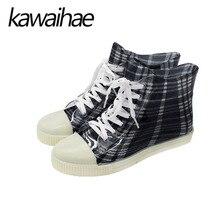 Ginghamm Lace-Up Women Rubber Boots Shoes Autumn Winter Female Flats Waterproof Women Rain Boots Brand Kawaihae 615