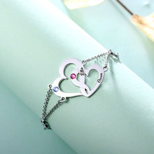 Romantic Hearts Decorated Customized Silver Chain Bracelet