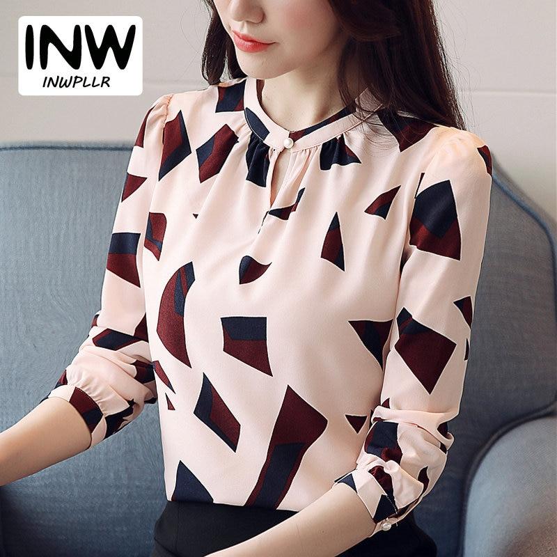 Otoño Blusas Mujer 2019 moda patrones geométricos camisa