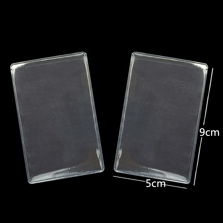 10pcs Transparent Frosted Pvc Business Id Cards Covers Clear Holder Cases Travel Ticket Holders Waterproof Protect Bags 9.6*6cm Fashionable Patterns Office & School Supplies
