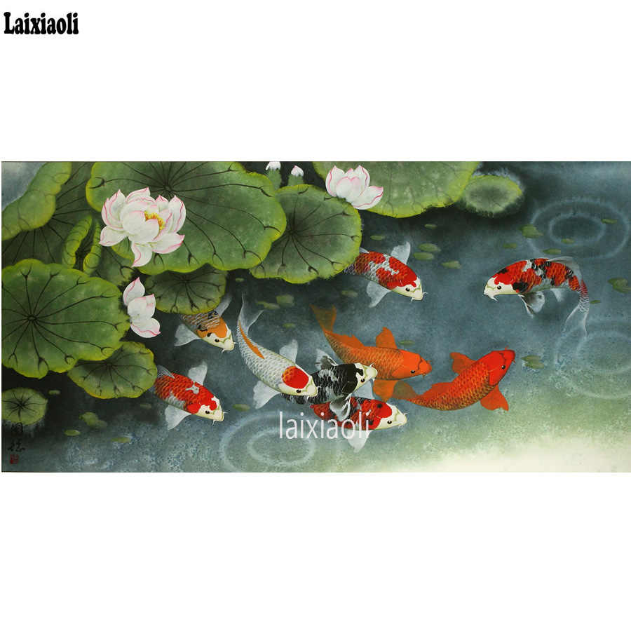 3D DIY Diamond Painting Cross Stitch Nine Carp Fish Crystal Needlework Diamond Embroidery mosaic Animal Full Diamond Decorative