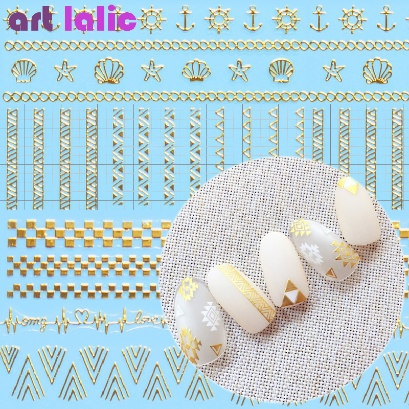 Best Seller 1pc Gold Lace Ethnic 3d Designs Nail Art Stickers For