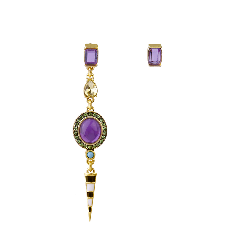 kpop Geometric Asymmetric Earrings for Girls New Brand Steampunk Jewelry 2016 Purple Earrings