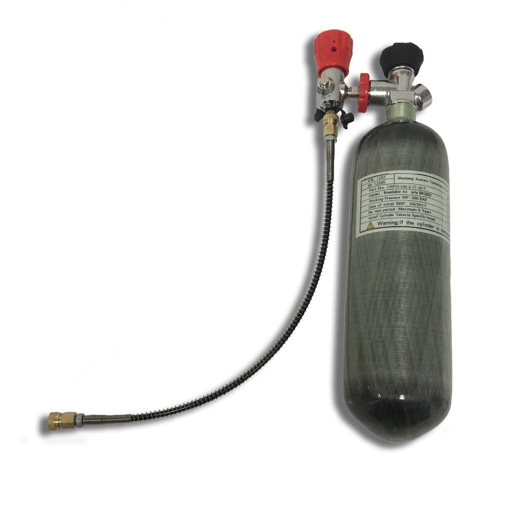 AC121730 2.17L 300Bar 4500spi Pcp Compressed Air Carbon Fiber Cylinder With Air Valve And Fill Station For Paintball Tank