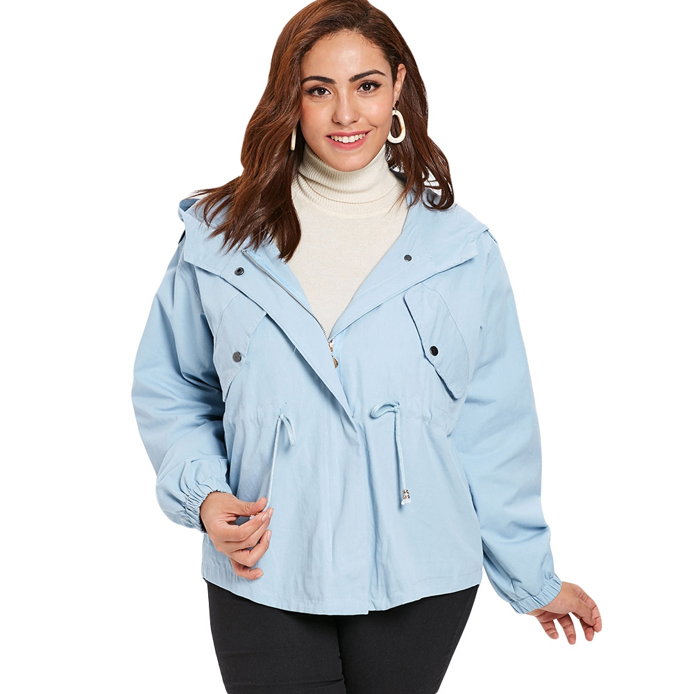 Winter   Jackets   And Coats 2018 Spring Fall Female coat Casual Sky Blue And Black   Jacket   Women   Basic     Jackets   Plus Size