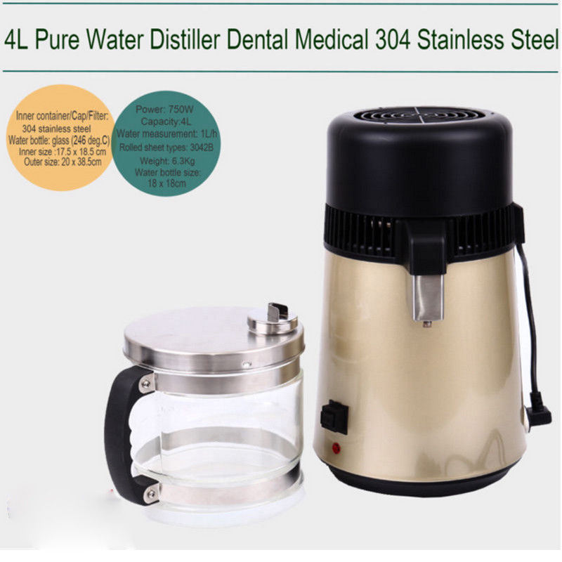 (Ship from EU) 4L 304 Stainless Steel Water Distiller Pure Water Purifier Filter + Glass Jar(Ship from EU) 4L 304 Stainless Steel Water Distiller Pure Water Purifier Filter + Glass Jar
