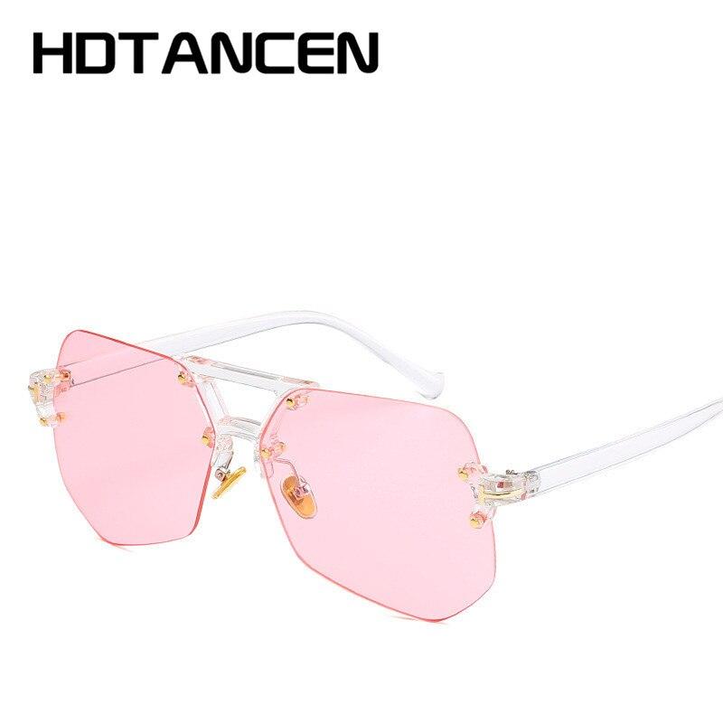 8848cd9571805 2018 NEW Brand Designer Metallic Orange Blue Frameless Sunglasses Women s  Fashion Vintage Glasses UV400 oculos de