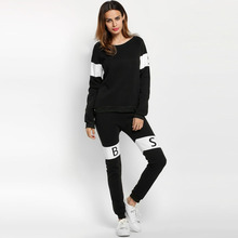 Women Print Long Sleeve O Neck Sweatshirt And Pants Tracksuit New