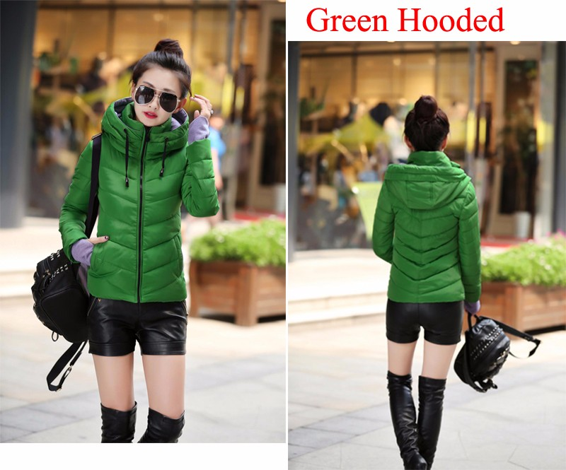 Winter Jacket Women Parkas Thicken Outerwear solid hooded Coats Short 44