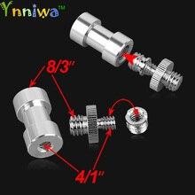 """3 en 1 acier chromé 1/4 """"3/8"""" vis 3/8 """"goujon de broche convertir Kit adaptateur pour trépied dappareil photo reflex"""
