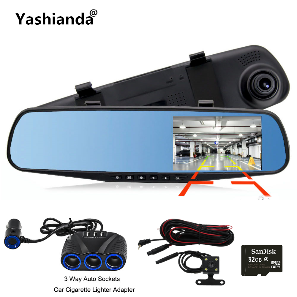 Yashianda 4.3 Inch Car DVR Camera Night Vision HD 1080P LED Display 170 Degree Wide Angle Camera Car Dash Cam Parking Monitor
