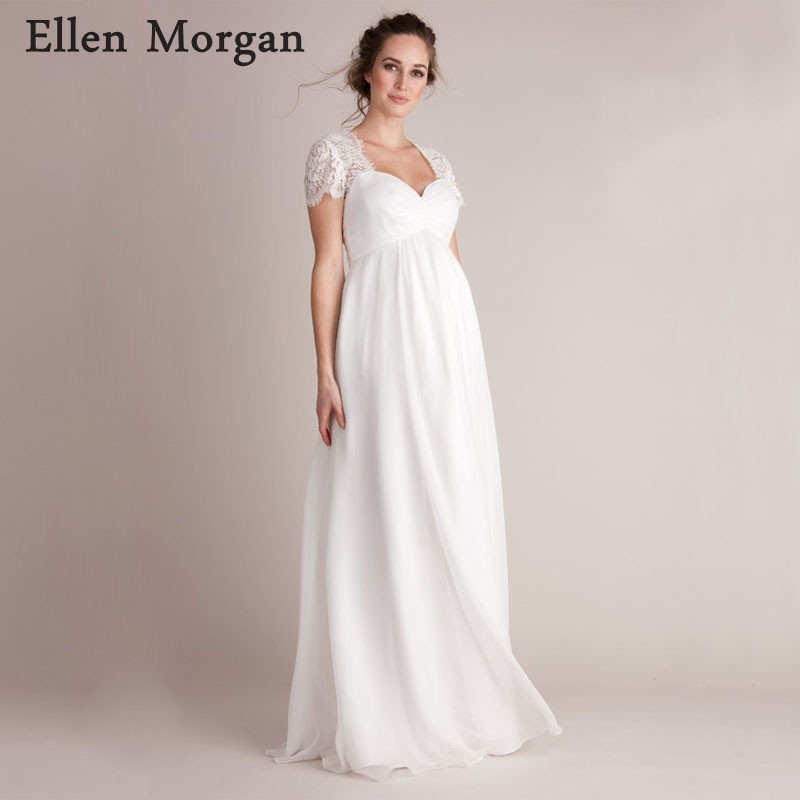 Empire Maternity Wedding Dresses For Pregnant Women 2019 Simple Lace Chiffon Floor Length Summer Beach Cheap Short Sleeves Gowns