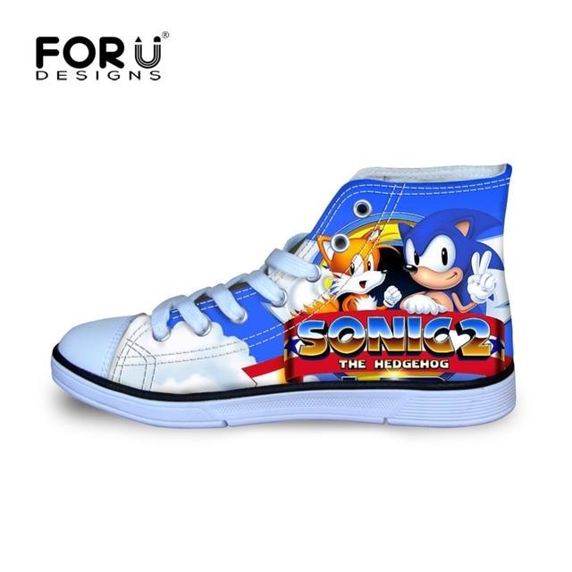 FORUDESIGNS/игры Sonic the Hedgehog печатных мультфильм детские кроссовки для мальчиков Высокий Верх Дети спортивная shoes для улицы Туфли без каблуков кроссовки