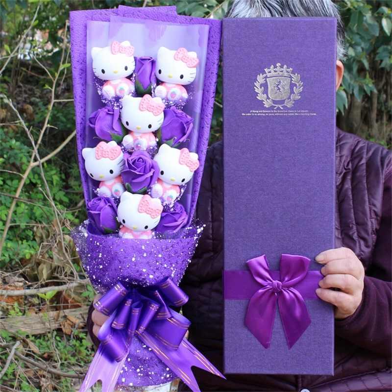 Adorável gato vinil bonecas figura de ação brinquedo + sabão rosas buquê de flores dos desenhos animados criativo dia dos namorados presentes natal