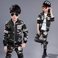 Мода камуфляж мальчики девочки chidlren одежда наборы 2016 осень дети мальчик девочка одежда с длинным рукавом пальто и брюки наборы одежды