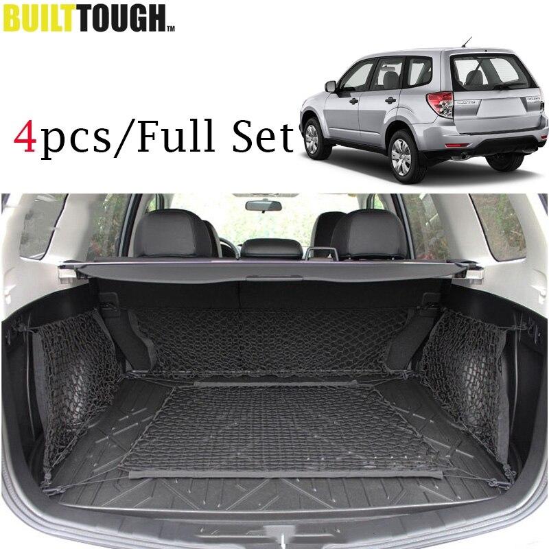 4PCS Set Envelope Floor 2 Sides Trunk Cargo Net Mesh Hooks Luggage Storage For Subaru Forester