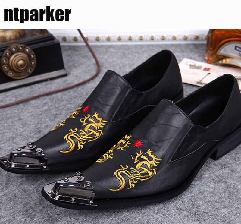 ntparker-Designer's Men Shoes Pointed Toe Men Leather Shoes Slip On Italian Style Party Leather Business Dress Shoes, Size 38-46 desai brand italian style full grain leather crocodile design men loafers comfortable slip on moccasin driving shoes size 38 43