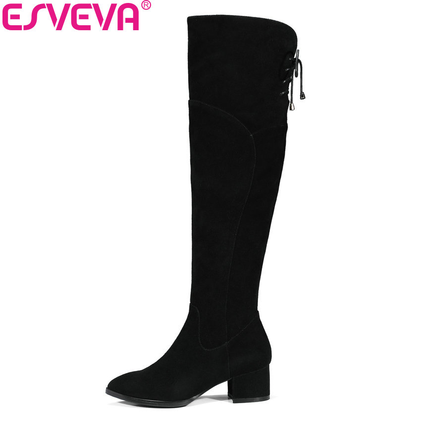 ESVEVA 2018 Women Boots Over The Knee Boots Chunky Cow Suede+PU Warm Fur Ladies Square High Heels Boots for Women Size 34-39 esveva 2018 women boots zippers square high heels appointment warm fur pointed toe ankle boots chunky ladies shoes size 34 39