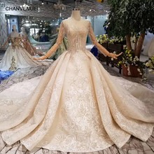 HTL106 2019 New material wedding dresses with royal long train o-neck long sleeve luxury handmade bride wedding gown fashion(China)
