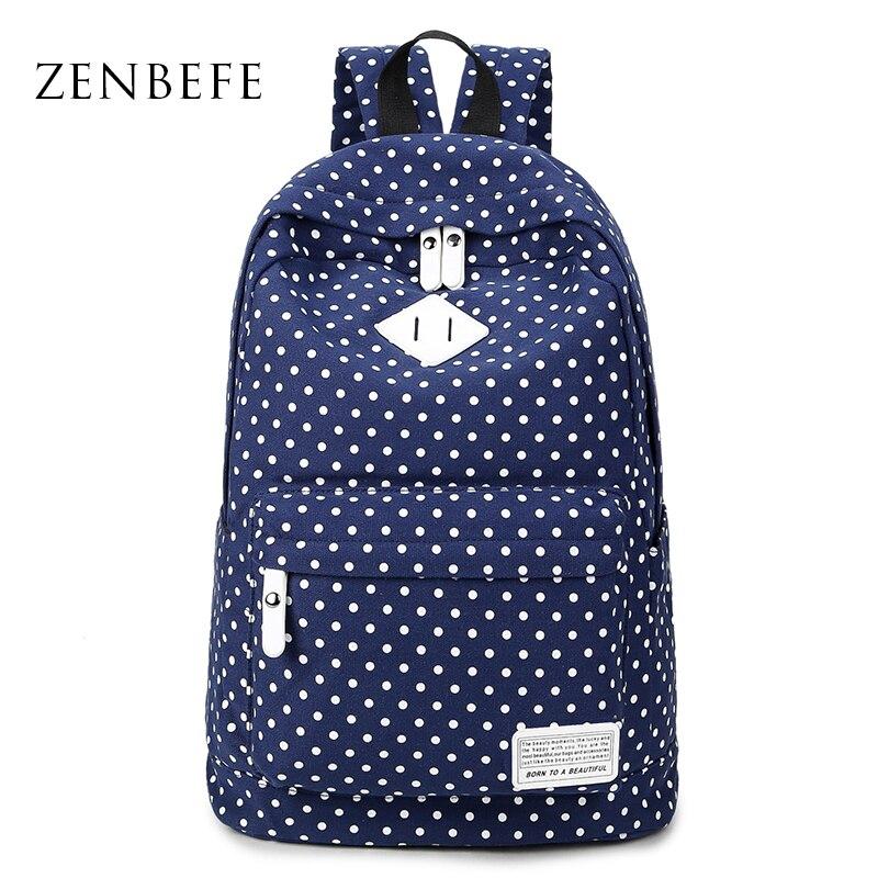 ZENBEFE Dot Women S Backpack Canvas Bag Leisure School Bag For Teenage Girls Laptop Backpack Travel