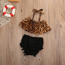 2PCS Summer Toddler Kids Baby Girls Clothing Leopard Shirt+Short Pants Outfit Clothes