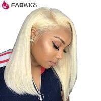 Fabwigs #613 блондинка Синтетические волосы на кружеве человеческие волосы парик с ребенком волос 180% Плотность Короткие человеческих волос Боб