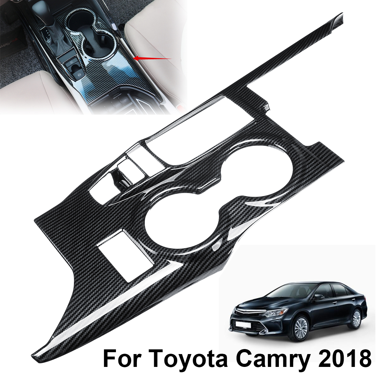 Audew Carbon Fiber Car Interior Gear Shift Box Panel Cover Trim for Toyota Camry 2018 Auto Interior Mouldings Parts Accessories fit for toyota camry 2018 carbon fiber style interior gear shift knob cover trim interior mouldings interior accessories