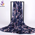 [BYSIFA] Navy Blue Brand Silk Scarves For Ladies Autumn Winter 100% Mulberry Silk Women Long Scarves Shawl Birds Pattern Scarf