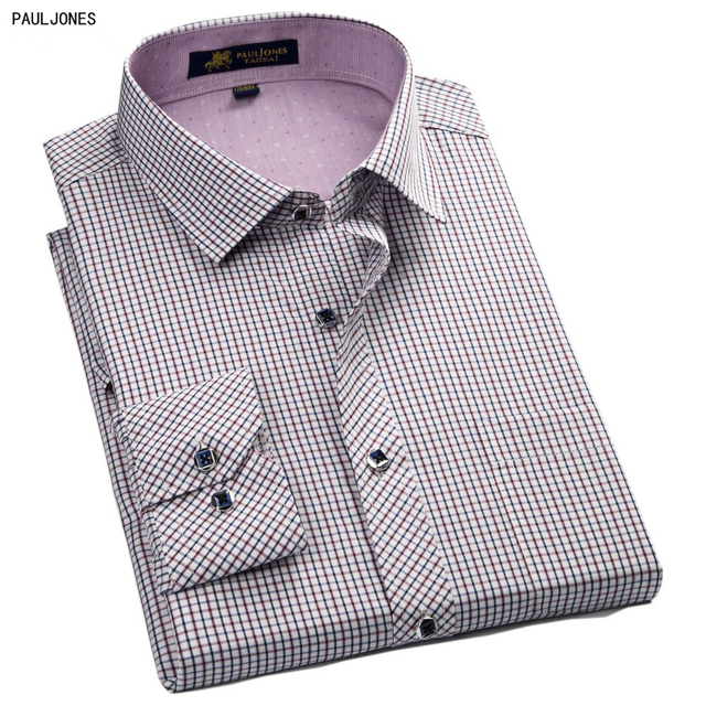38d660d5f45 PaulJones 57xx Fashion Long Sleeved Collar Designers Mens Formal Shirts  Quality Pin Check Social Shirt Male casual Plaid clothes