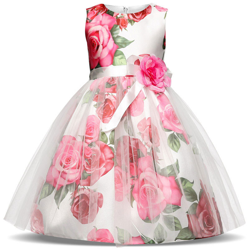 2018 foreign trade spring and summer new fashion rose flower printing dresses for girl pompon gauze princess kid's clothing4T-8T 2017 children summer wear girl s printing in europe and the united states foreign trade dress sleeveless flower princess dress