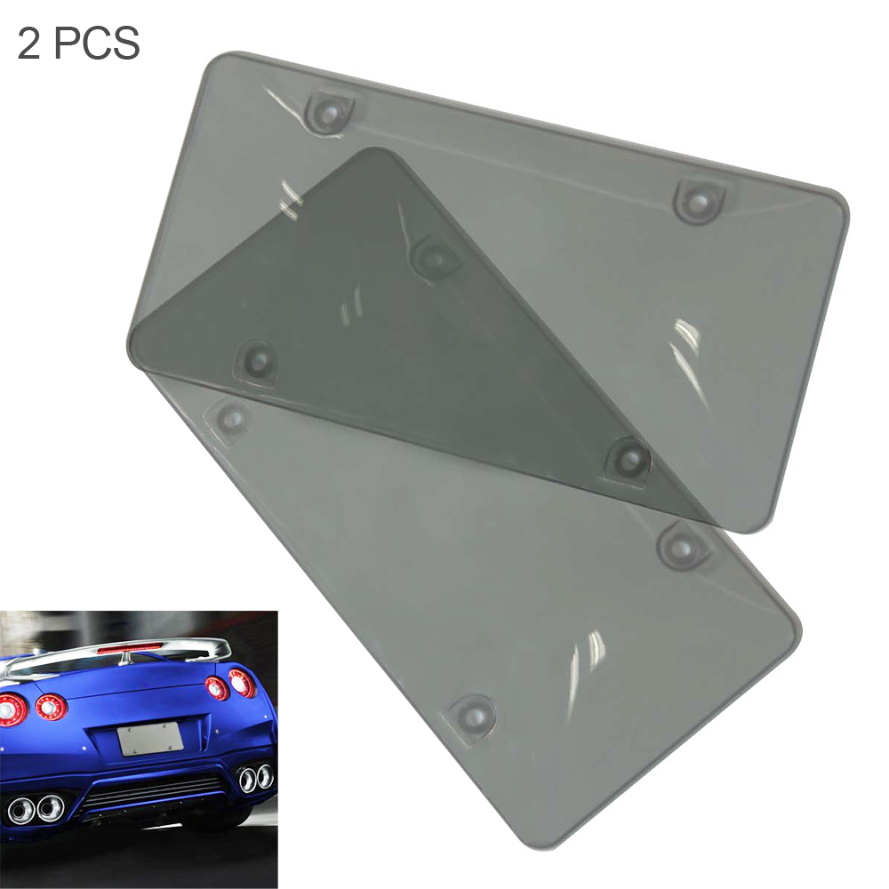2pcs Convexity Universal Waterproof Car License Plate Box with Carbon Fiber Style and Plastic Materia for Cars
