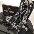 HANCREATE 2017 женщин цветок роскошные шелковые шарфы палантины summer beach пашмины шарфы модные шарфы леди длинный глушитель 180*90 см