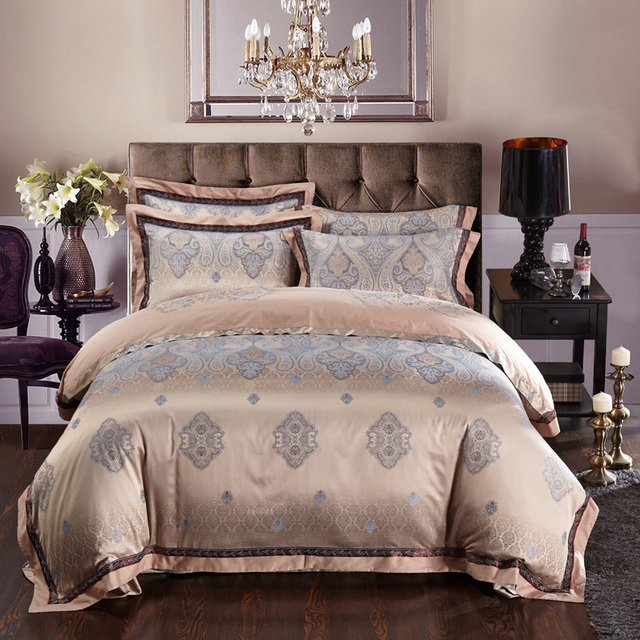 Luxury China Flower Egyptian Cotton Silk Bedding Sets Embroidered Jacquard Quilt Covers Queen King Sizes Bed Spreads 4 5pc Linen