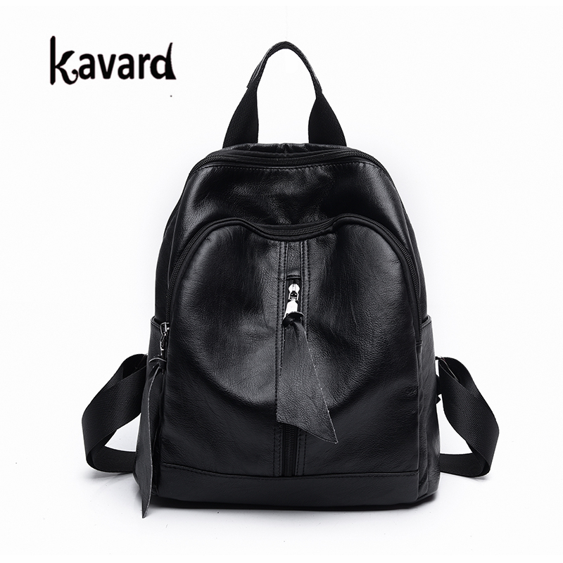 Kavard Backpack Women Fashion Black Pu Leather Bag for School for Girls 2017 High Quality Women